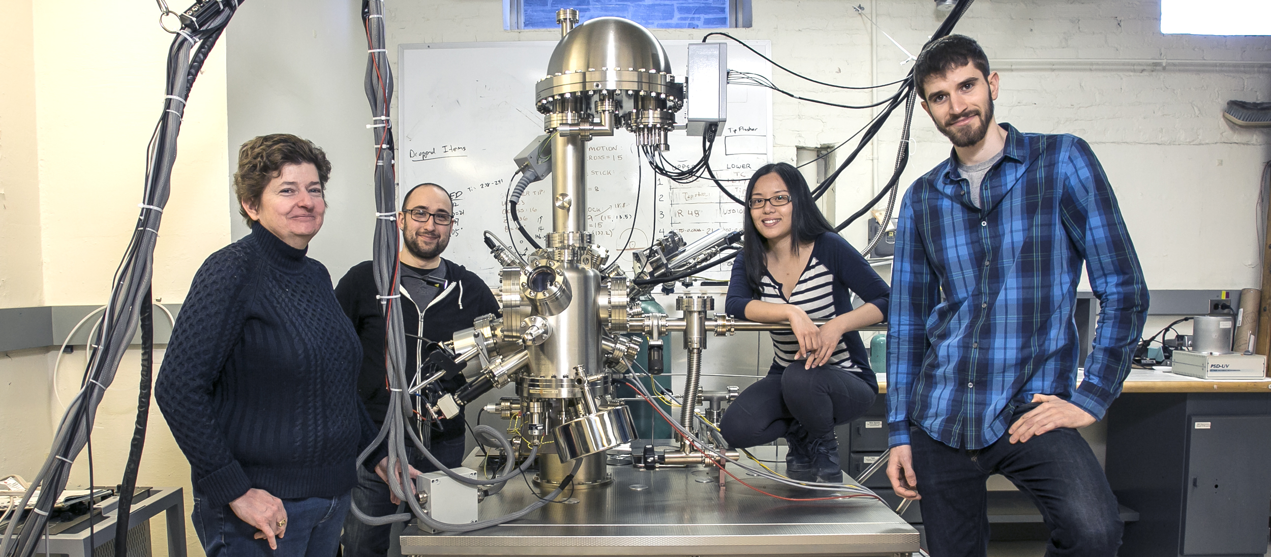 The Hines lab uses scanning tunneling microscopy to capture images of individual atoms on a surface, before and after chemical reactions, to study patterns.