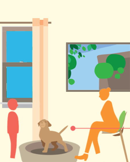 Petting an animal has been shown to decrease stress; design for animal visitation.