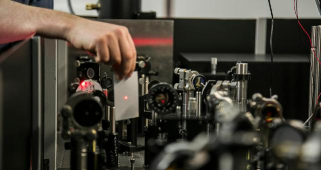 Petersen's lab has the latest infrared laser technologies and numerous pieces of optics equipment—lenses, mirrors, photo detectors—mounted to a two-ton floating metal optics table.