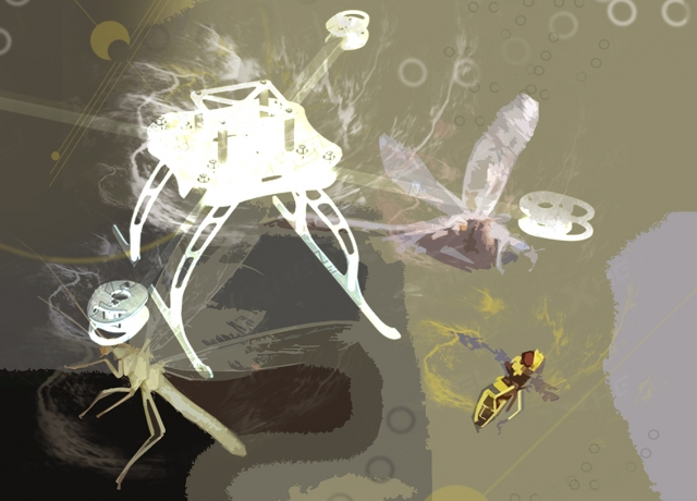 Flying insects can perform impressive acrobatic feats, simultaneously sensing and avoiding a striking hand or landing on moving surfaces.